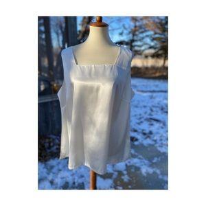 Vintage White Satin Tank Top Camisole Plus Size